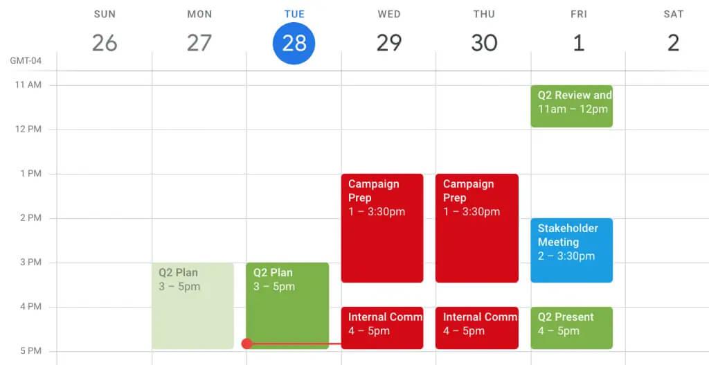 کدگذاری رویدادها با رنگ آمیزی در تقویم گوگل