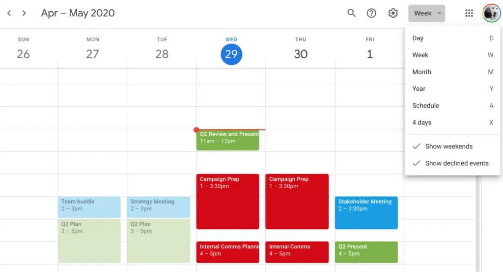 سفارشی سازی نمای تقویم در تقویم گوگل