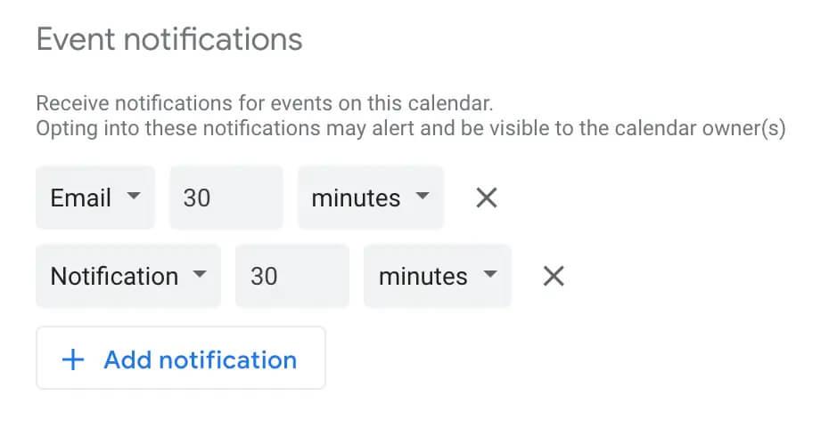 تنظیمات اعلان ها در تقویم گوگل
