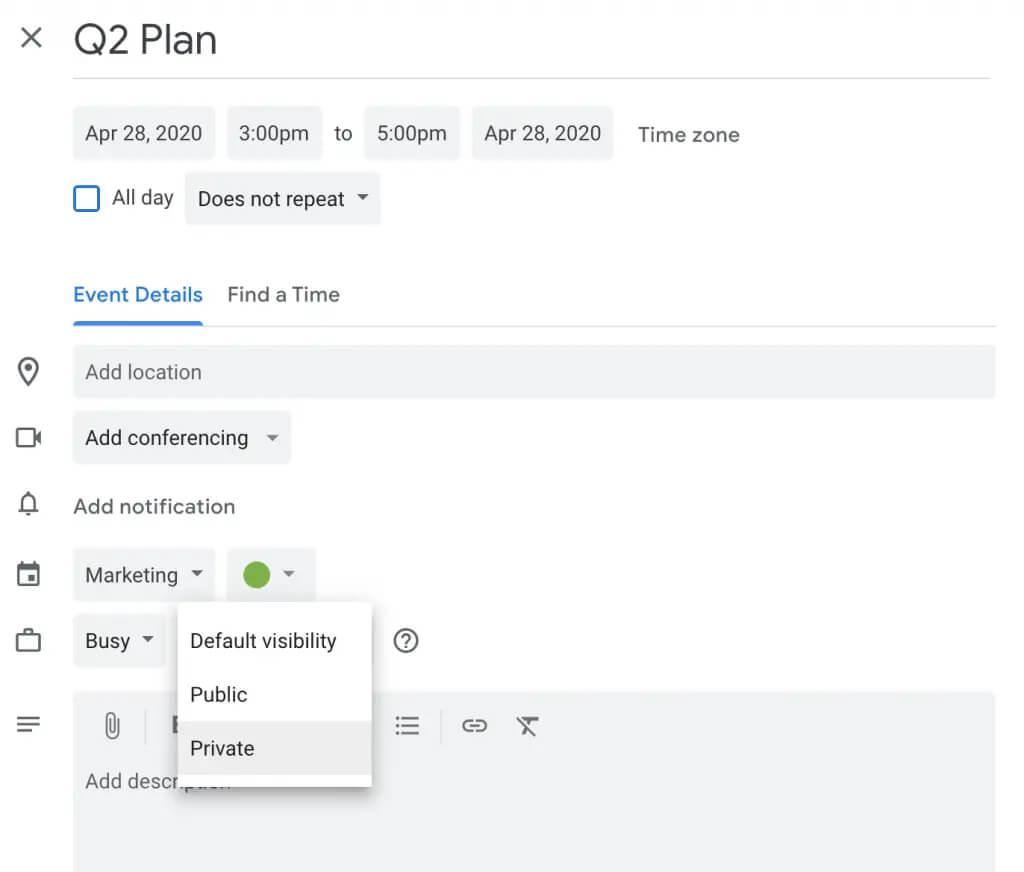 تنظیم یک رویداد به عنوان خصوصی در تقویم گوگل