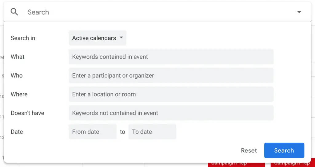 جستجوی رویداد ها در تقویم گوگل
