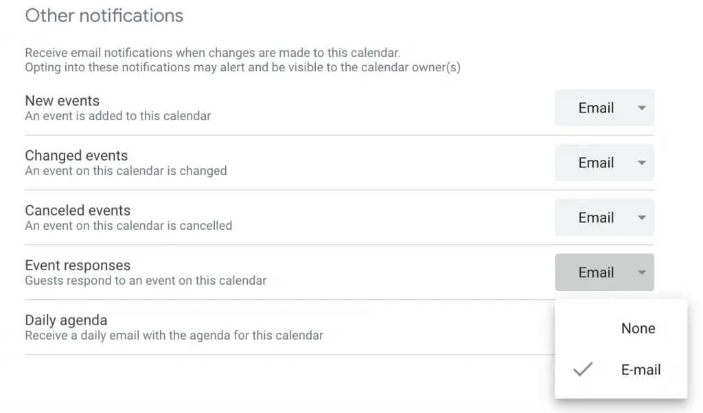 تنظیمات اعلان پاسخ رویدادها در تقویم گوگل