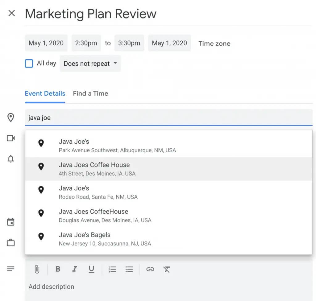 ثبت محل برگزاری جلسات در تقویم گوگل