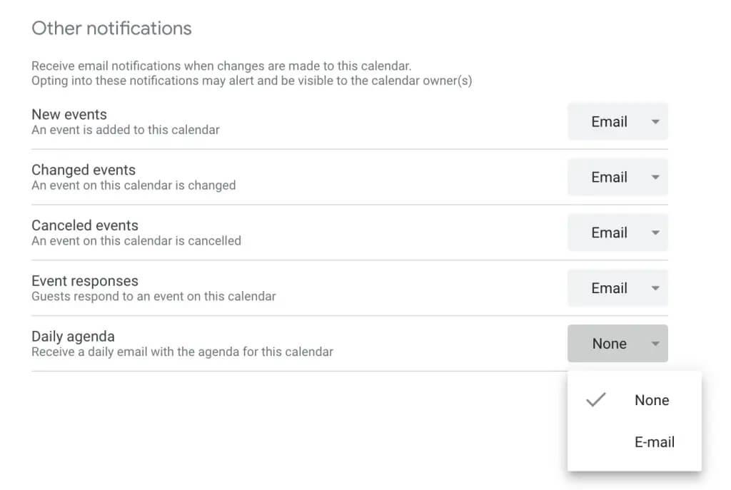 ارسال برنامه روزانه با ایمیل توسط تقویم گوگل