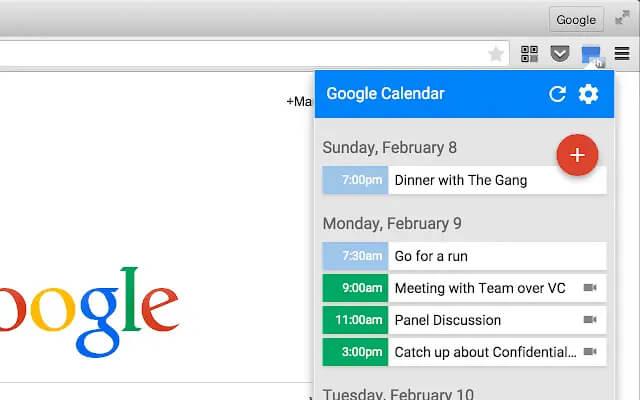 افزودنی دسترسی به تقویم گوگل از طریق مرورگر کروم