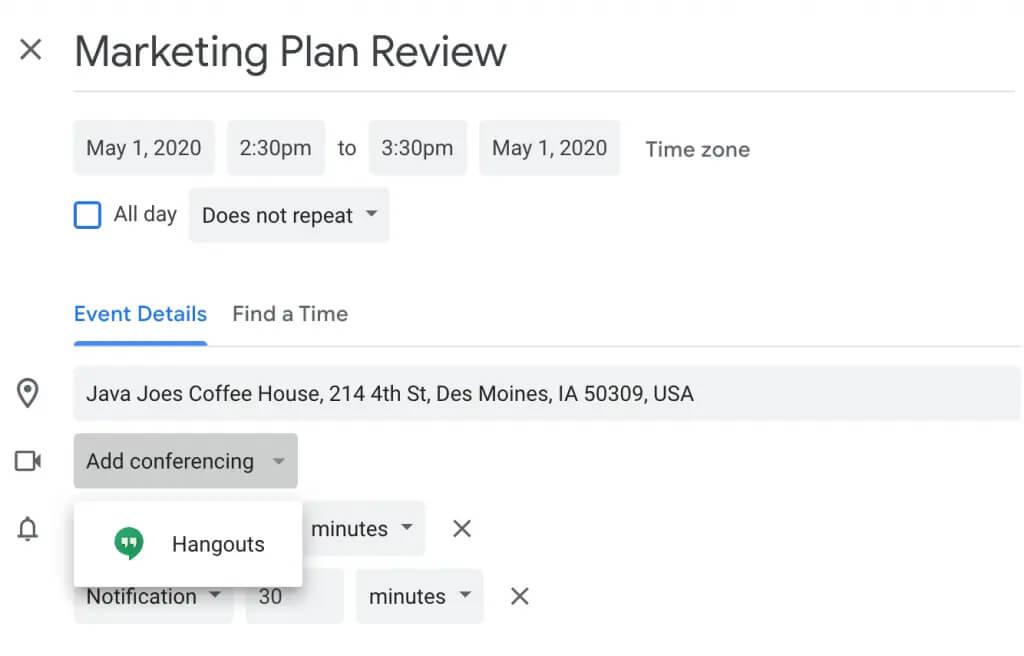 میزبانی جلسات مجازی در تقویم گوگل