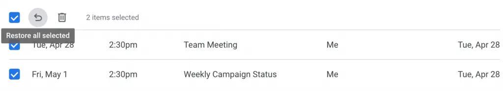 بازیابی گروهی رویدادهای حذف شده در تقویم گوگل