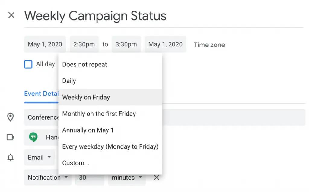 تنظیم رویدادهای تکراری در تقویم گوگل
